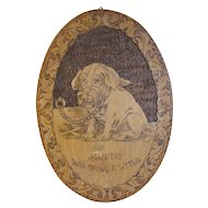 Large Oval Flemish Art Wall Plaque, Muzzled Puppy