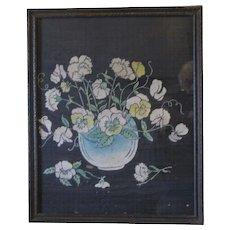 Vintage Framed Floral Painting on Silk, Under Glass