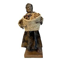 Collectible Mexican Paper Mache Figure, Woman Carrying a Basket of Corn