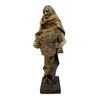 Collectible Mexican Paper Mache Figure, Woman Carrying a Basket of Cotton