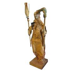 Vintage Paper Mache Figure, Woman with Mop & Broom