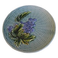 Lovely Turquoise Blue Majolica Plate, Grapes