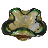 Lovely Art Glass Bowl, Ash Tray, Murano, Green & Yellow