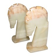 Vintage Pair of Alabaster Horse Head Bookends