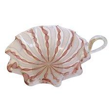 Gorgeous Vintage Pink Latticina Murano Glass Dish w/Handle