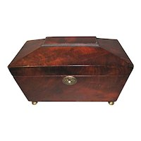 Antique 3-Compartment Mahogany Tea Caddy