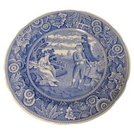 Collectible Blue & White Plate, WOODMAN