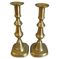 Vintage Pair of English Brass Candlesticks