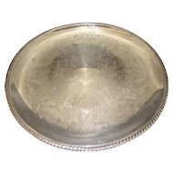 Large Vintage Round Etched Silver Plated Tray