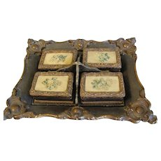 Antique Papier Mache Card and Game (Poker) Chip Tray