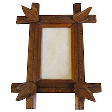 Small Vintage Wood Frame with Criss-Cross Corners