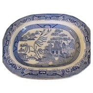 Antique Blue Willow Platter, British, Opaque China