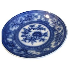 Lovely Flow Blue Shallow Bowl, Floral, Unmarked