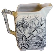 Aesthetic Transferware Milk Pitcher, Bamboo, Deer, Fans