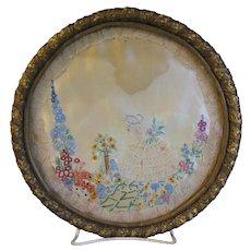Vintage Needlework Framed, Girl w/Bonnet in Garden