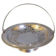 Vintage Silver Plated Basket, Pedestal Base, Handle
