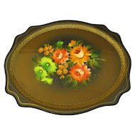 Lovely Vintage Russian Tole Tray, Floral