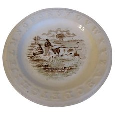 Brown Transferware ABC Plate, 1860's, Charles Allerton