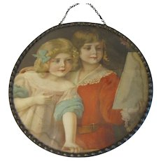 Charming Flue Cover, Image of Two Young Girls