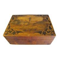 Antique Walnut Box, Vintage Wood-Burned Modification