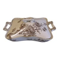 C. 1885 Brown Transferware Vegetable Bowl & Lid, Chrysanthemum