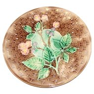 Large Antique Majolica Plate, Basketweave & Blackberry