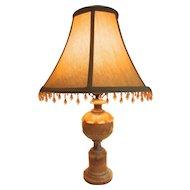 Nicely Carved Vintage Alabaster Lamp, Rewired