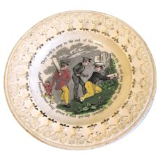 Early 19th Century Staffordshire Child's Plate, Cricket