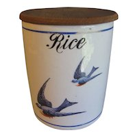 Wonderful Round Bluebird Canister, RICE