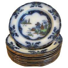 Lovely Flow Blue PolyChrome Soup Plate, LANDSCAPE