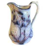 Lovely Antique Salt-Glazed Milk Pitcher, Flow Blue & Pink Lustre