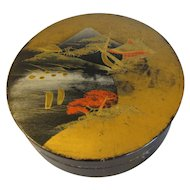 Vintage Round Oriental Papier Mache Powder Box
