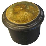 Small Round Wood Powder Box with Angel