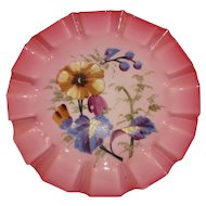 Gorgeous Antique Enameled Bristol Glass Plate, Pansies