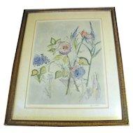 Large Vintage Botanical Watercolor Etching, Grace Hoxter, Listed Artist