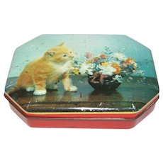 Small Vintage Candy Tin, Unmarked, Kitten & Flowers