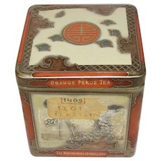 Vintage Oriental Design Tea Tin, Niemeyer's Holland