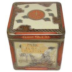 Vintage Oriental Design Tea Tin, Niemeyer's Holland