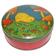 Adorable Vintage Biscuit Tin Chick, Frog, Mushrooms