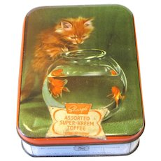 Vintage Toffee Tin, Sharp's Super-Kreem, Kitten and Goldfish Bowl