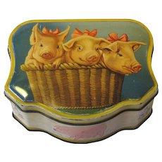 Vintage Belgium Biscuit Tin D.B.F. Three Pigs in a Basket