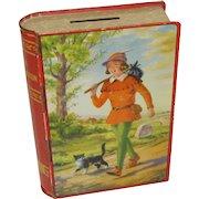 1950's Chad Valley English Book Toffee Tin Bank, DICK WHITTINGTON