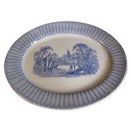 Lovely Blue Transferware Platter, Romantic Landscape, Clementson