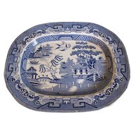 19th Century Blue Willow Platter, Scottish, Traditional Pattern