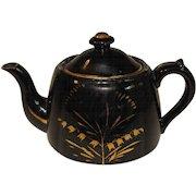 Vintage Black English Teapot, Gilded Decoration