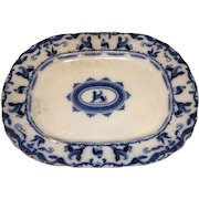 Large Flow Blue Platter, SPHINX, Charles Meigh 1835-49