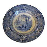 Blue Transferware Soup Plate, Romantic Scene, PALESTINE, Bell