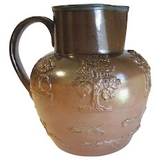 Large Vintage Two-Tone Brown Milk Pitcher, Raised Design, English