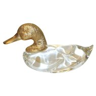 Vintage Murano Art Glass Duck, Gilded Head