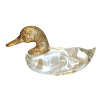 Vintage Murano Italy Art Glass Duck, Gilded Head